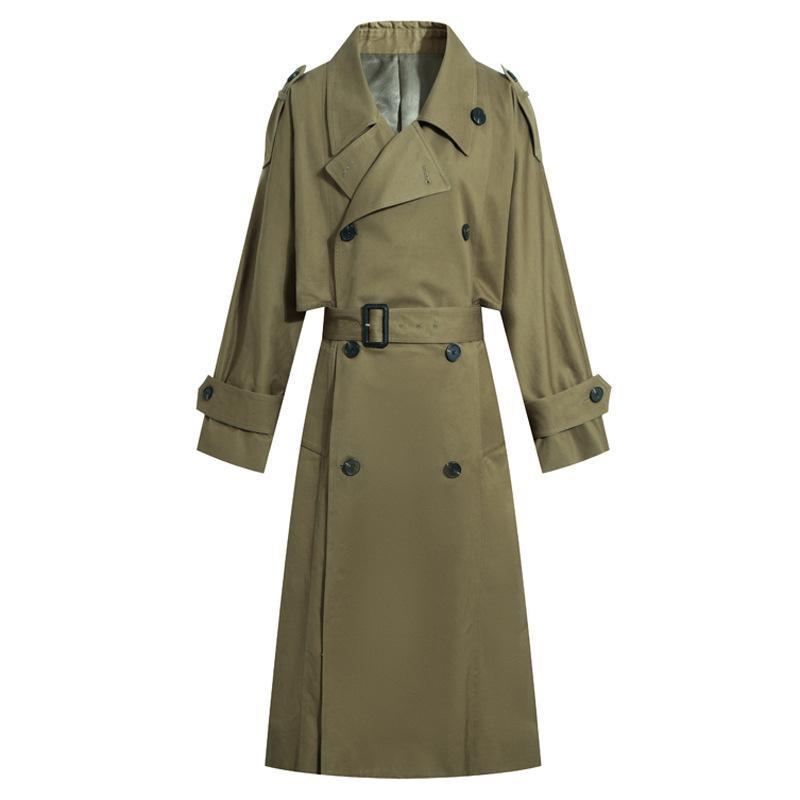 Армия зеленый 2019 осень новый стиль британский стиль талии обнимая двубортный тренч пальто для похудения универсальный средней длины девушки