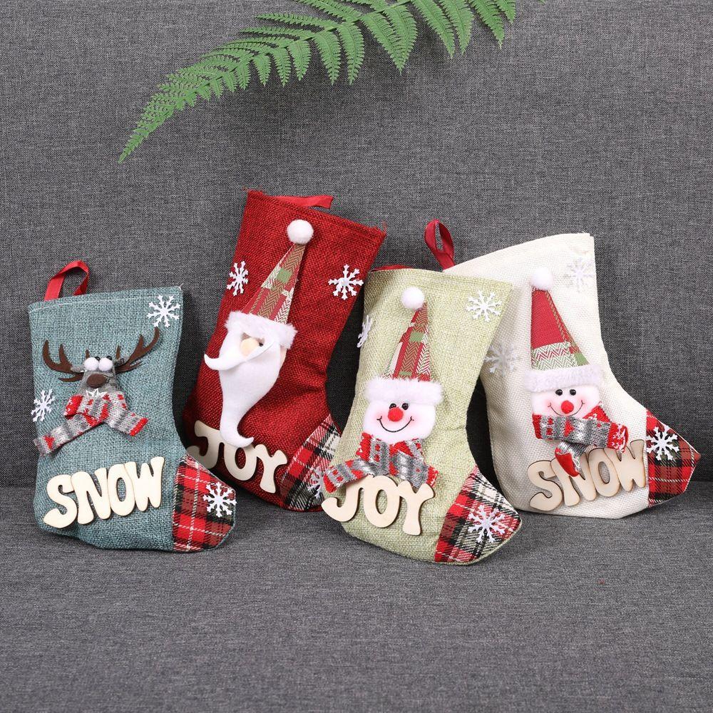 de santa calcetines cómics animados media de la navidad ornamentos de decoración de vacaciones de regalo bolsa de animales para la venta caliente chico