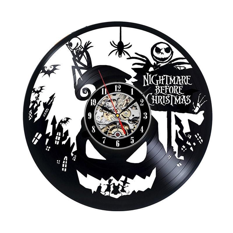 El reloj LED de la pared del estilo del reloj hueco Negro antiguo creativo Pesadilla antes de Navidad tema Grabar CD del reloj clásico 3D colgantes