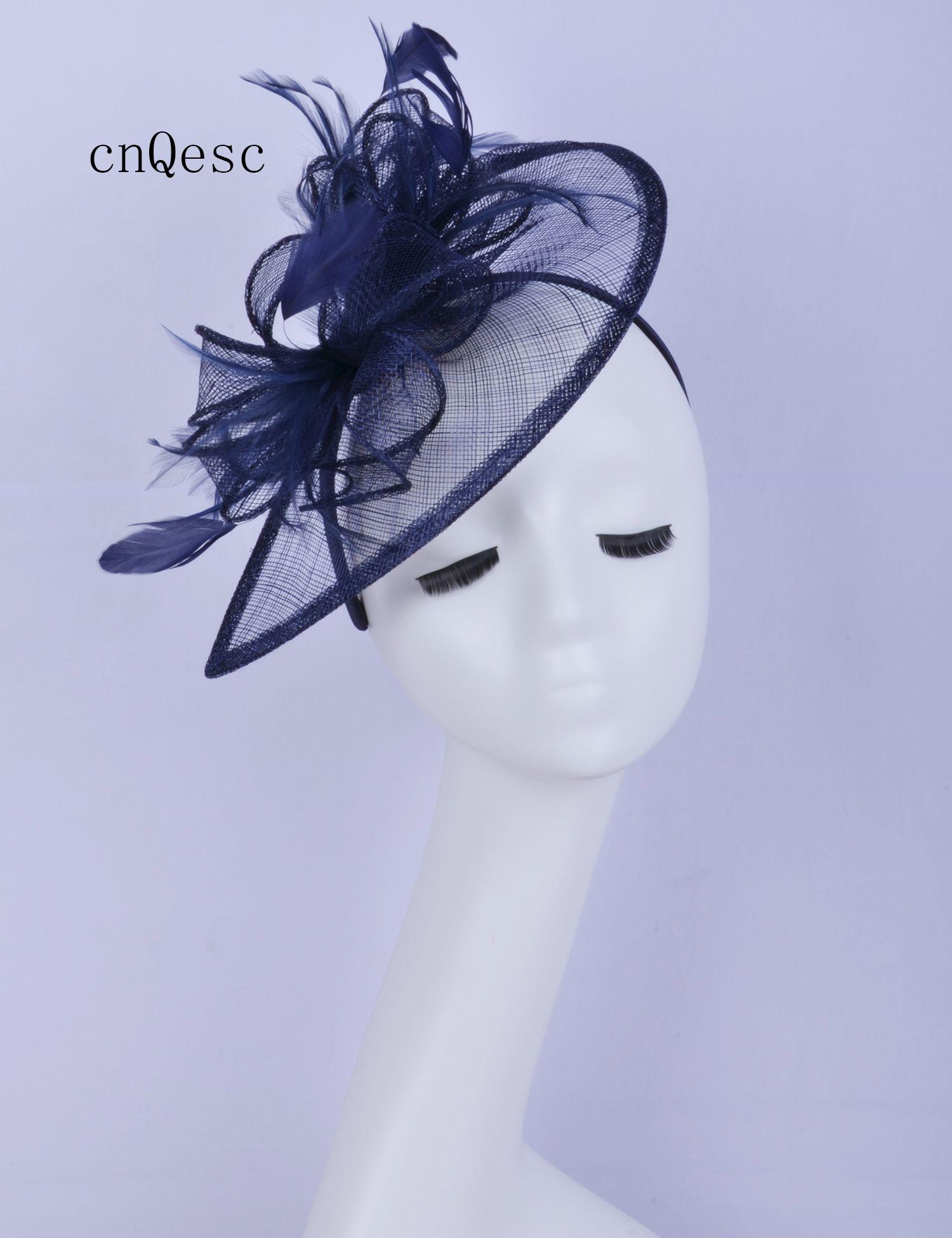 2019 Marineblau Damen Kleid Hut Sinamay Fascinator Feder Kopfbedeckung Kentucky Derby Hochzeit Rennen Brautdusche Mutter der Braut