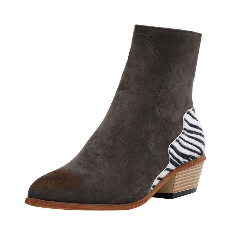 Inverno Primavera delle donne calza sexy del leopardo Scarpe a punta Stivaletti Zipper profonda Toe piatto del tacco signora Shoes Women