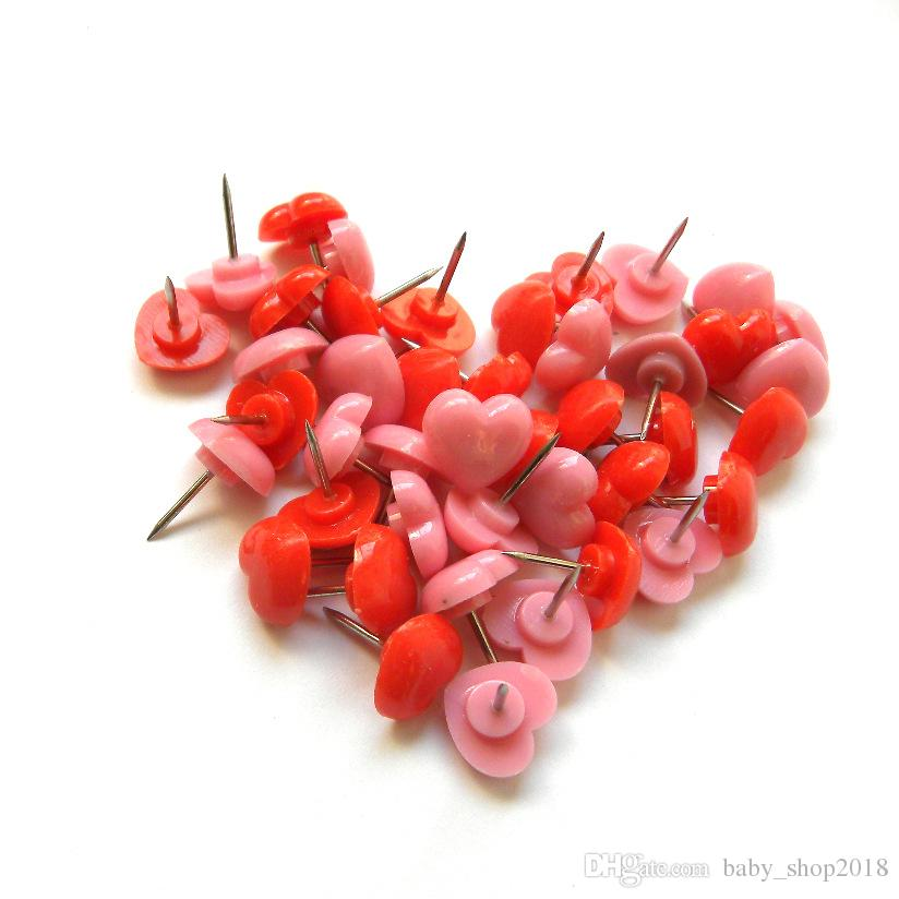 50 Pcs/pack Office Stationery Attractive Creative Art Work Pink Heart Shaped Push Pins Tool Office Supplies Art Thumbtacks(Pink+Red) Student