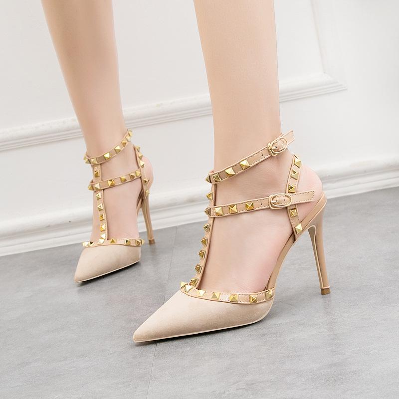 Chaussures de banquet de mariage de mode femme sexy discothèque T-strap designer chaussures de soirée pour femmes avec talon aiguille à talons hauts de 10cm 9268-28