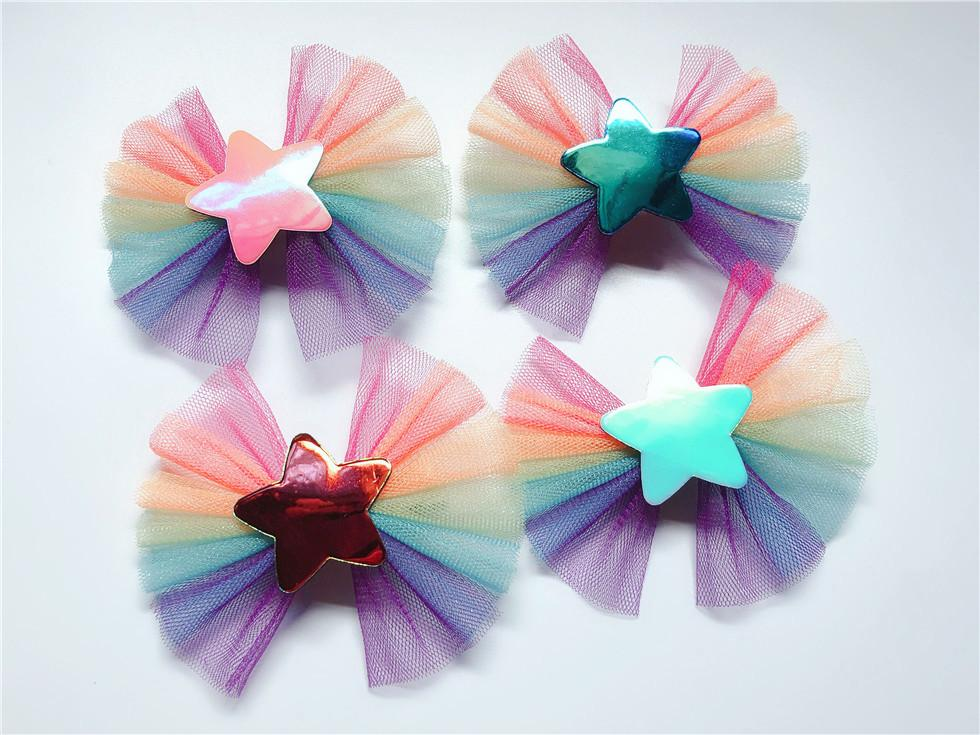 Boutique ins 20pcs Fashion Cute Glossy Laser Star Bowknot Hairpins Gradient Rainbow Bow Hair Clips Princess Hair Accessories