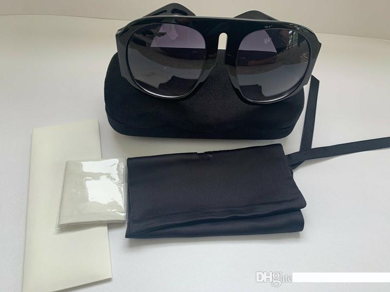 OVERSIZE lusso PISTA occhiali da sole con originale boxe NERO 0152 del progettista di marca degli occhiali da sole con le scatole per le donne rotonda estate