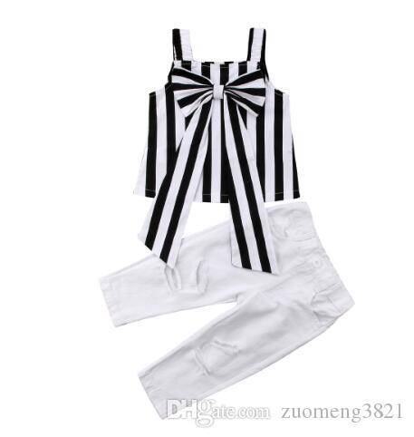 Toddler Bambino Bambini Neonate Abbigliamento Top in cotone senza maniche Camicia Big Bow Pantaloni a righe Vestiti estivi 2PCS Set Girl 2-6T
