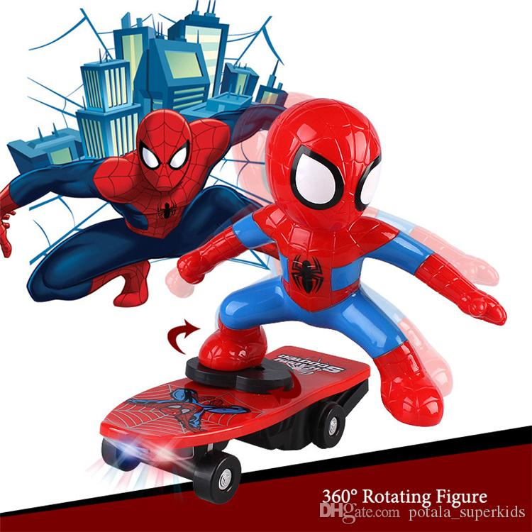 Spiderman Scooter Racing Car Superhero Marvel The Avengers Captain America Electronic Car Electric Music Toys Action Figure Led Collection