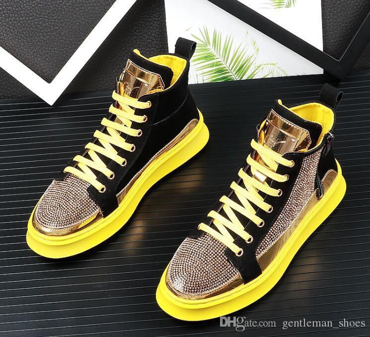 Nova Chegada Dos Homens designer de Sapatos de Strass Mocassins Sapatos Baixos sapatos casuais altos-tops heren schoenen