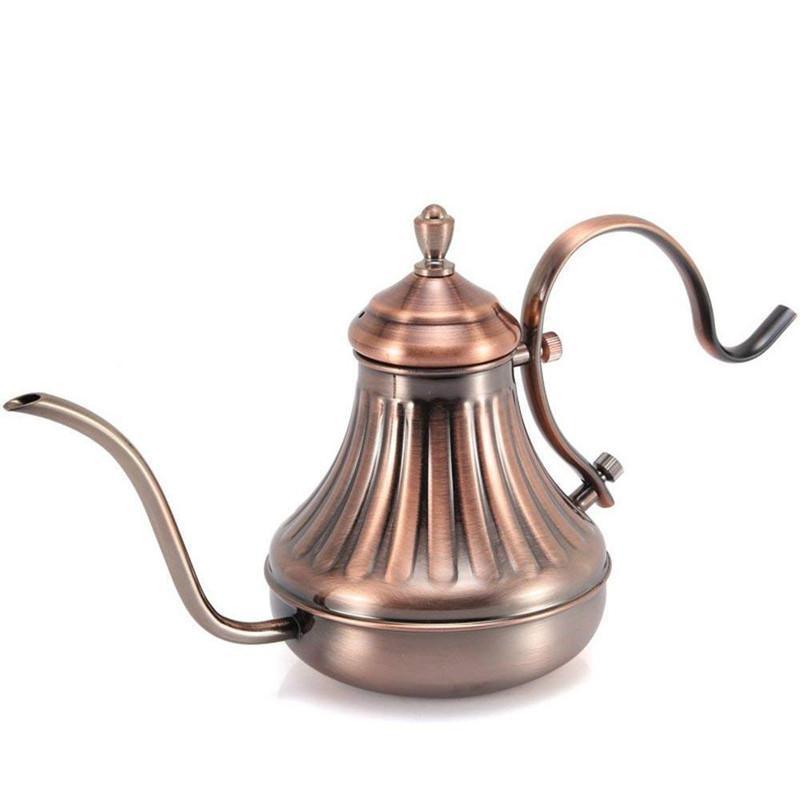 En acier inoxydable Coffee Pot 420ml 650ML Pot Café Royal goutte à goutte fine bouche pot de café long col de cygne bec verseur