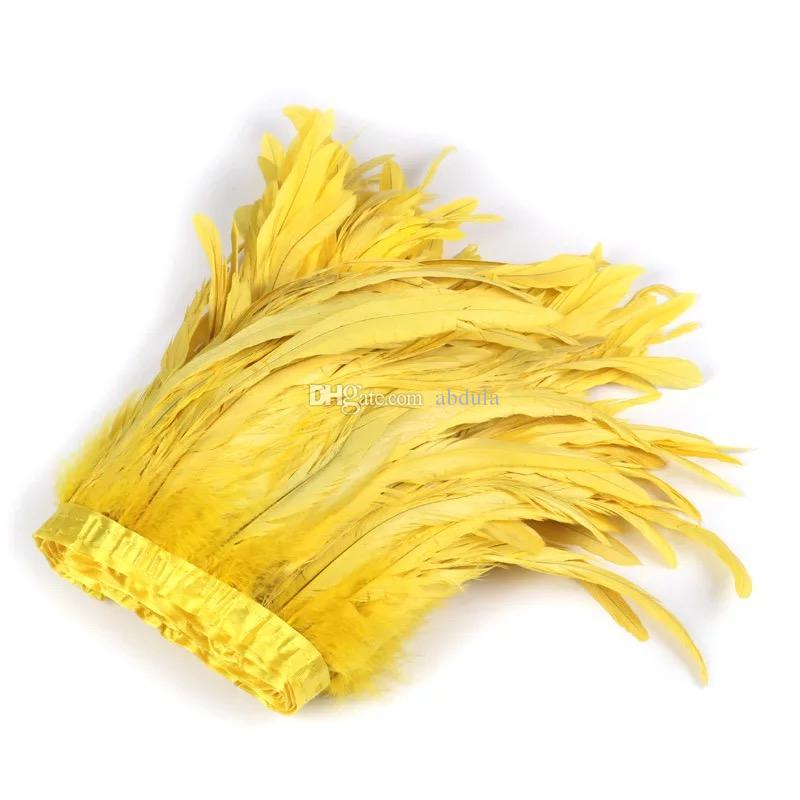 Rooster Feather Trims 2m/pack Chicken Tail Feather Fringe Cock Feathers Fringe Tail Feathers Colorful Cock Feather Trim for Dress Skirt