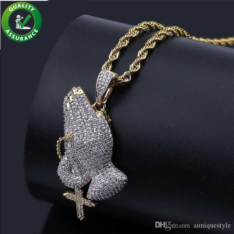 Iced Out Chains Cross Pendant Designer Necklace Mens Hip Hop Jewelry Luxury Bling Rapper Gold Chain Pandora Style Charm Prayer Gesture Gift