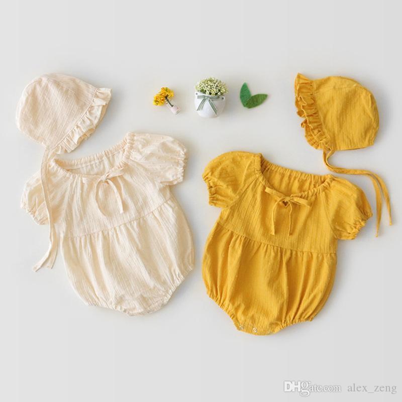 ملابس الصيف 1PCS طفلة مصمم الملابس رومبير الرضع الصلبة اللون قصير جولة كم الياقة رومبير + قبعة 100٪ القطن