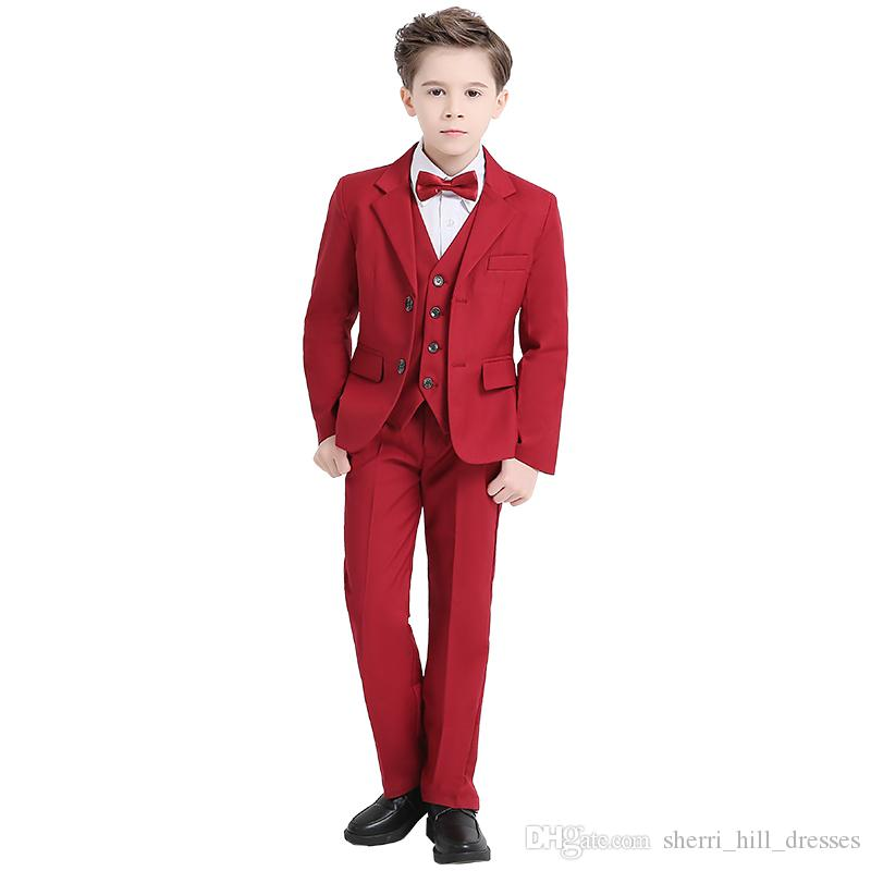 2020 Red Boys Formal OccasionTuxedos Notch Lapel Two Button Center Vent Kids Wedding Tuxedos Child Suit (Jacket+Pants+Bow Tie+Vest) DH6238