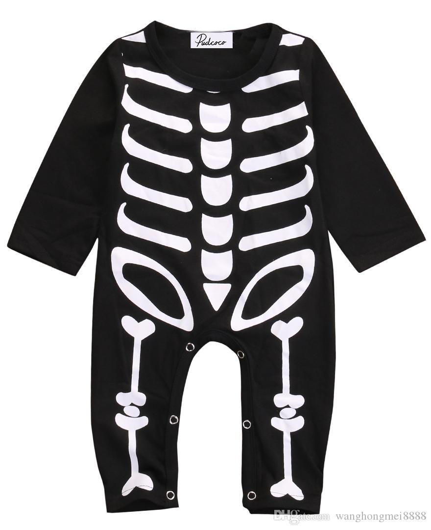 الشتاء هالوين ملابس الأطفال رومبير الوليد بيبي بوي فتاة هالوين السروال القصير القطن الهيكل العظمي زي ملابس الزي