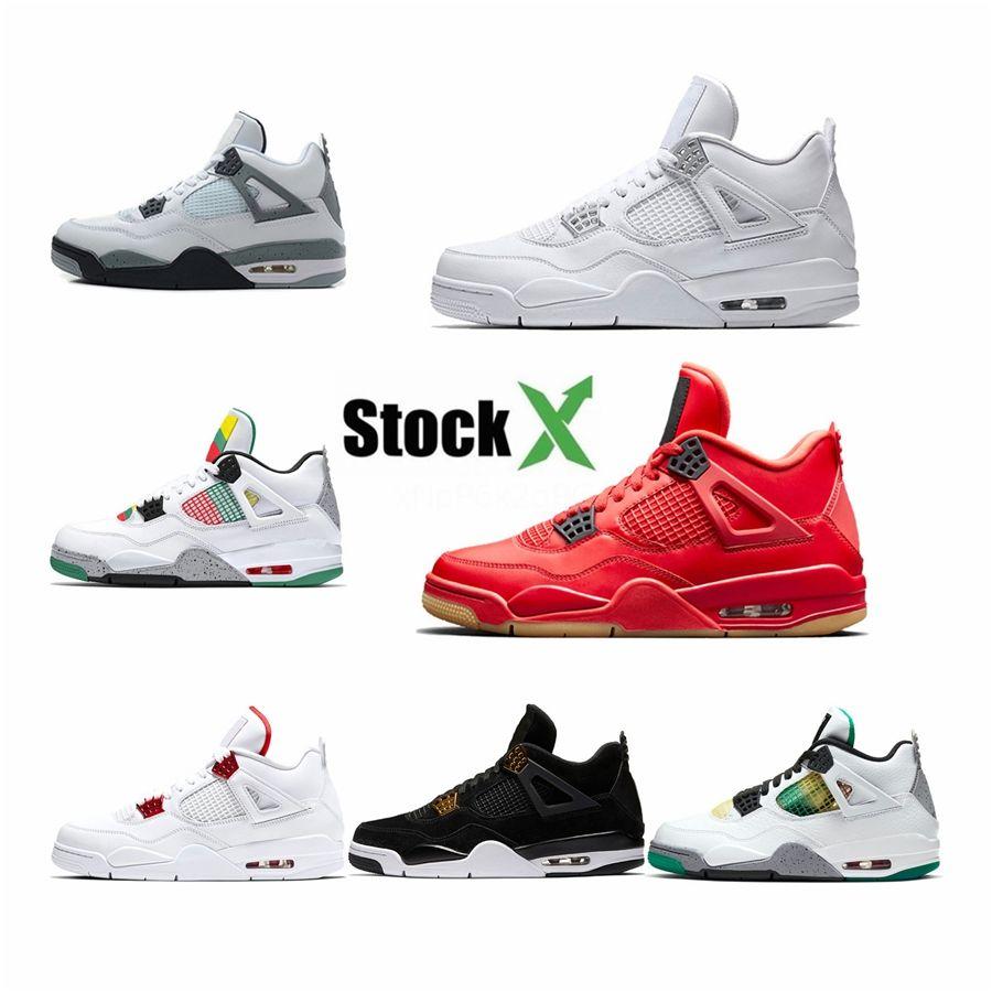 2020 Shoes New Bred Cat 4 Preto 4S Homens Basquetebol Branco Cimento Cactus Jack Fire Red Sneakers Iv Pure dinheiro Mens Trainers # 128