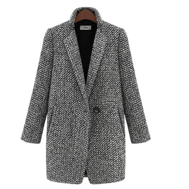 Brasão do vintage do outono inverno lã único botão bolso do revestimento do Oversize Longo Trench Mistura Casacos Mulheres Houndstooth algodão
