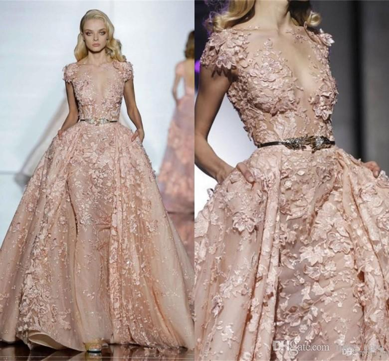 Formal Zuhair Murad Abendkleider Sheer Jewel Neck Kurzarm Appliques 3D Blume Abnehmbare Zug Abendkleid Party Kleider