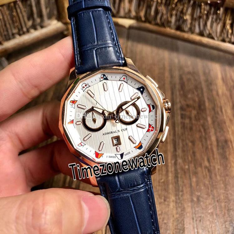 New Admiral's Cup AC-ONE 42 A116/02599 White Texture Dial Rose Gold Case Automatic Mens Watch Blue Leather Strap Cheap Watches COR-E02