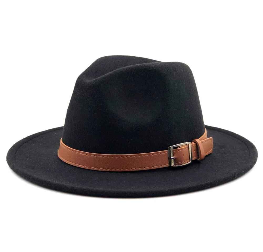 Laine vierge Fedora Hat Hawkins Felt Cap large Brim Mesdames Trilby Chapeu Feminino Chapeau Femmes Hommes Jazz Eglise Godfather Sombrero Caps