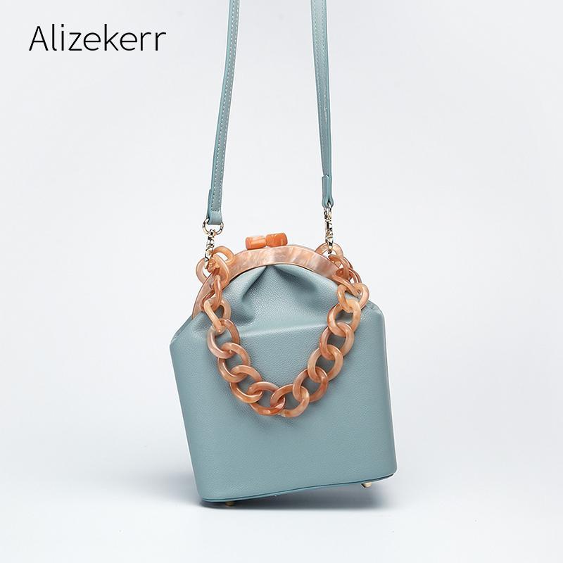 Bolsa de mujeres de la caja del bolso 2019 de acrílico gruesa cadena Clip Bucket el Mujeres famosas marcas monederos y bolsos para niñas