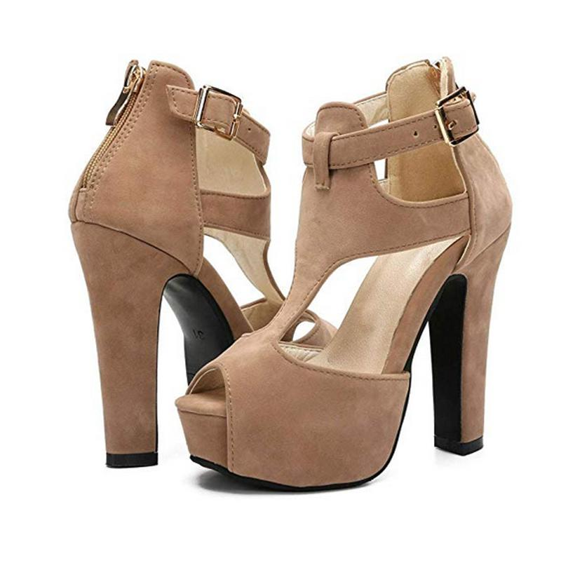 Women/'s Ladies Ankle Peep Toe Platform High Heels Chunky Sandals Girls Shoes