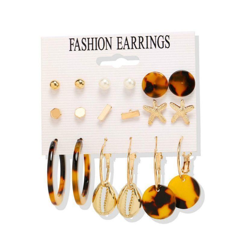 New Fashion 9 pairs Earring Sets Gold Color Alloy Geometric Rhinestone Mixed Week Stud Earrings Set for Women Creative vintage earrings