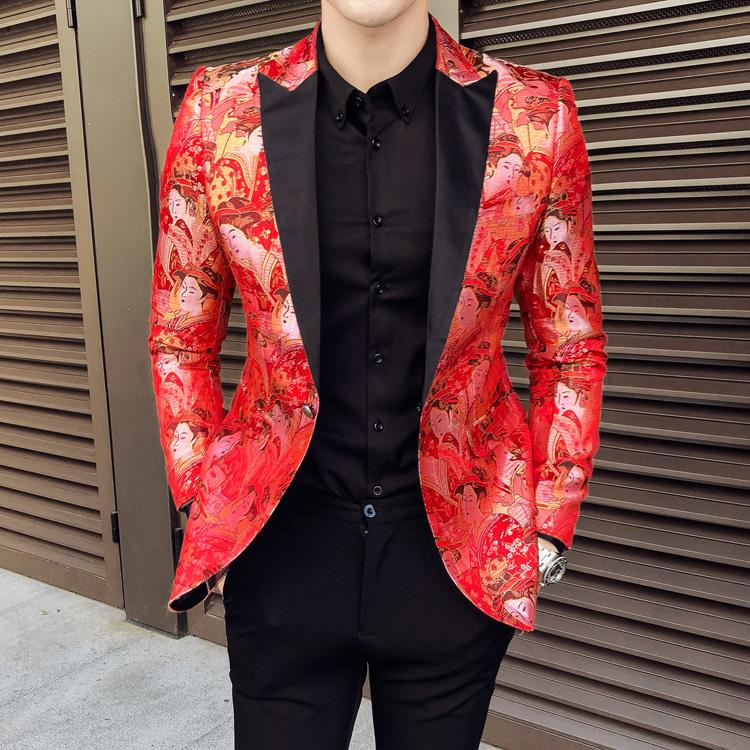 New Red Blazer Hommes Luxe Jacquard simple boutonnage du Club Prom Blazers Hommes Mode Casual Slim Fit Party Blazer Homme Taille Plus 5XL