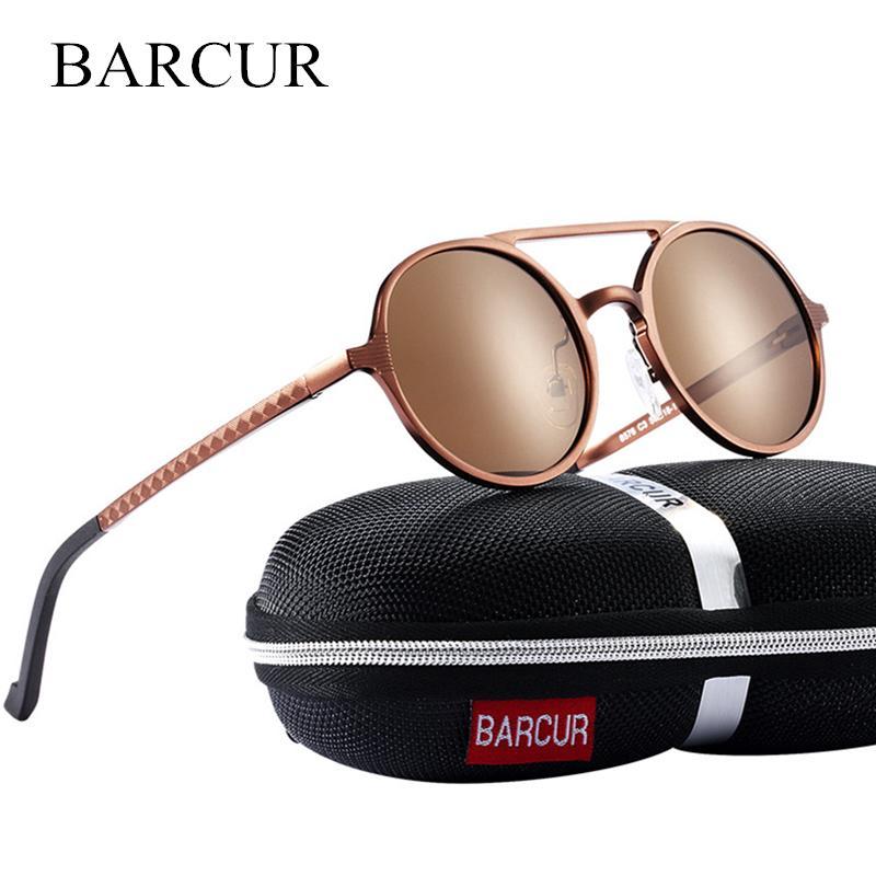 Barcur Vintage Aluminum Magnesium Sun Glass Men Polarized Sunglasses Round Steampunk Shades Brand Designer Eyewear Y19052001