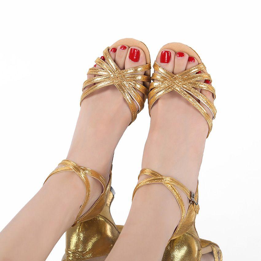 Золото Высокие каблуки Женская обувь 2020 женщин Насосы латинских танцев Обувь на каблуках 7,5 / 5,5 / 3,5 см Низкие каблуки Женщина свадьба обувь