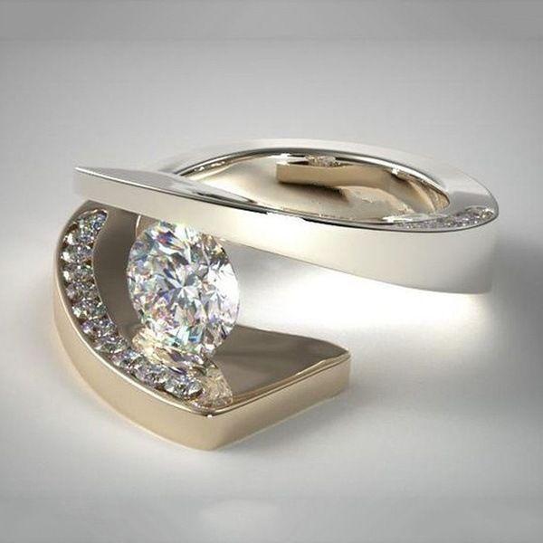 Trendy 18k Yellow Gold Lolite Diamond Ring For Wedding Women Bague Etoile Crystal Anillos De Diamond Rings Bizuteria Diamantes Y19052301