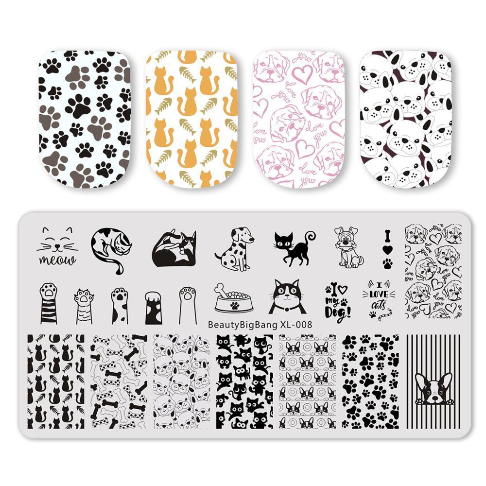 Красота Здоровье BeautyBigBang 6 * 12см Штамповка Для ногтей Cat Dog Image Plate ногтей Stamping Nail Art Планшеты Шаблон Mold BBB XL-008