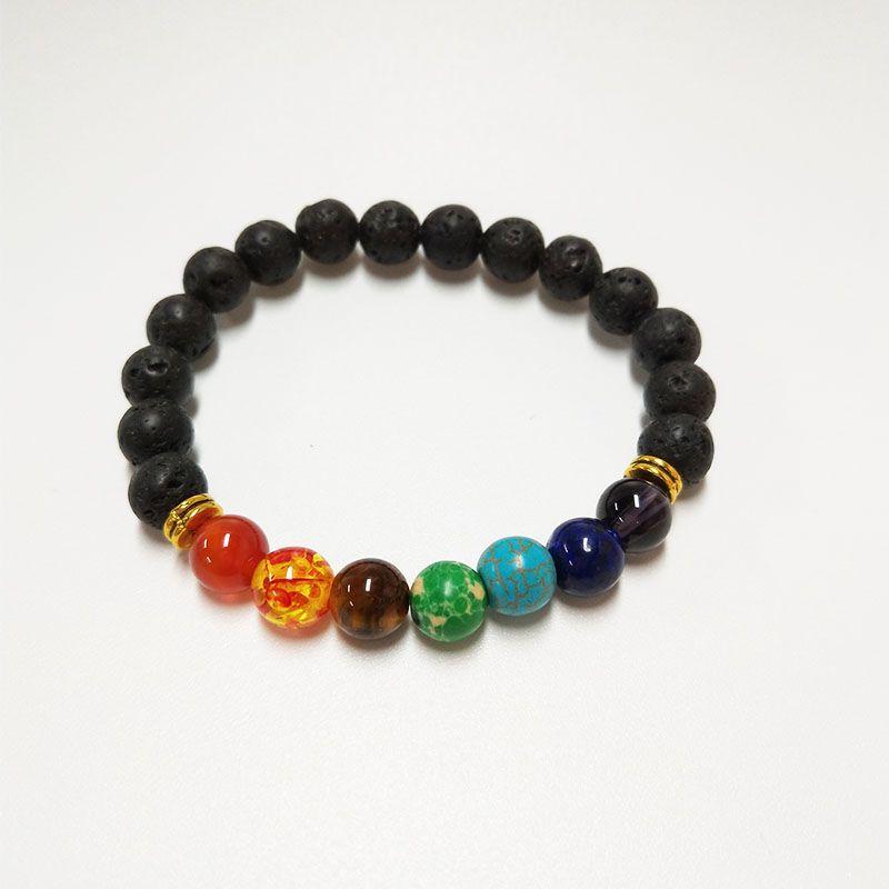 LELX 1PC neuen 7 Chakra-Armband-Mann Black Lava Healing Gleichgewicht Perlen Reiki Buddha Gebet Naturstein Yoga-Armband für Frauen