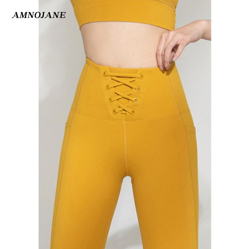Strappy Yoga Pants With Pockets Seamless Workout Leggings Push Up Women Gym Fitness Clothing High Waist Running Legging Sport