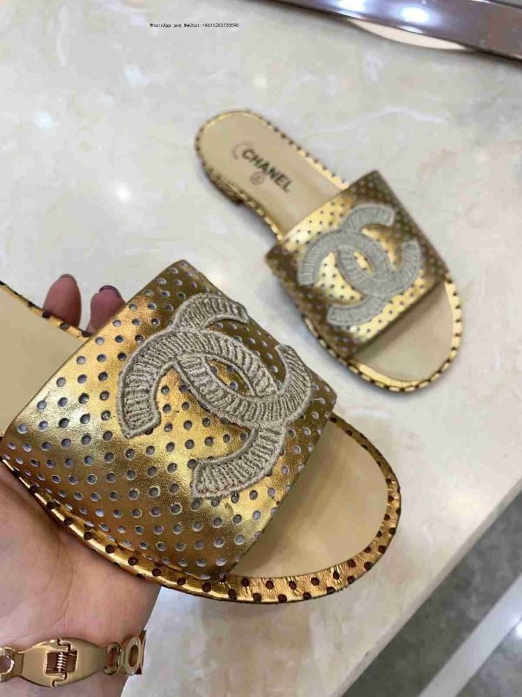 العلامة التجارية اسم كبير السلع نمط أحذية نسائية صنادل النعال تو التعادل نجوم الذهبي جلد طبيعي كعب منخفض
