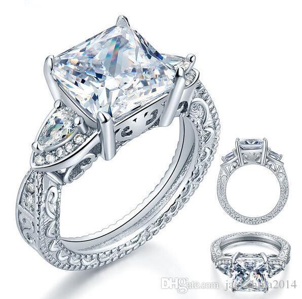 Tamaño joyería 5/6/7/8/9/10 Marca nuevas mujeres forman el corte del corazón 925 Zafiro Blanco CZ Diamond anillos de las mujeres anillo de matrimonio para el amante