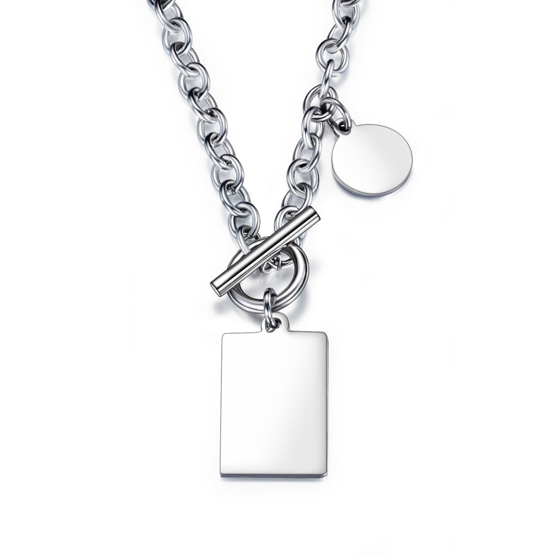 Sencillo collar de las mujeres cuadradas mezclado redondo brillante colgante 3-GX1594 calle tendencia de la moda de titanio hombres de acero y