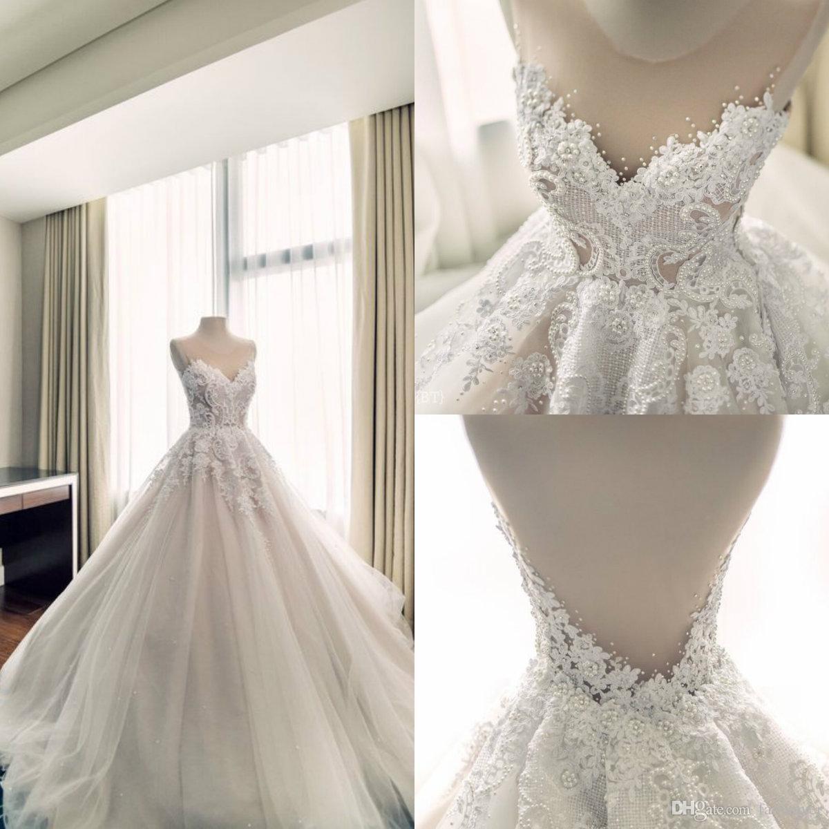Real Picture Boho Wedding Dresses Lace Applique Rhinestone A Line Sweep Train Beach Wedding Dress Custom Made Backless Vestidos De Novia