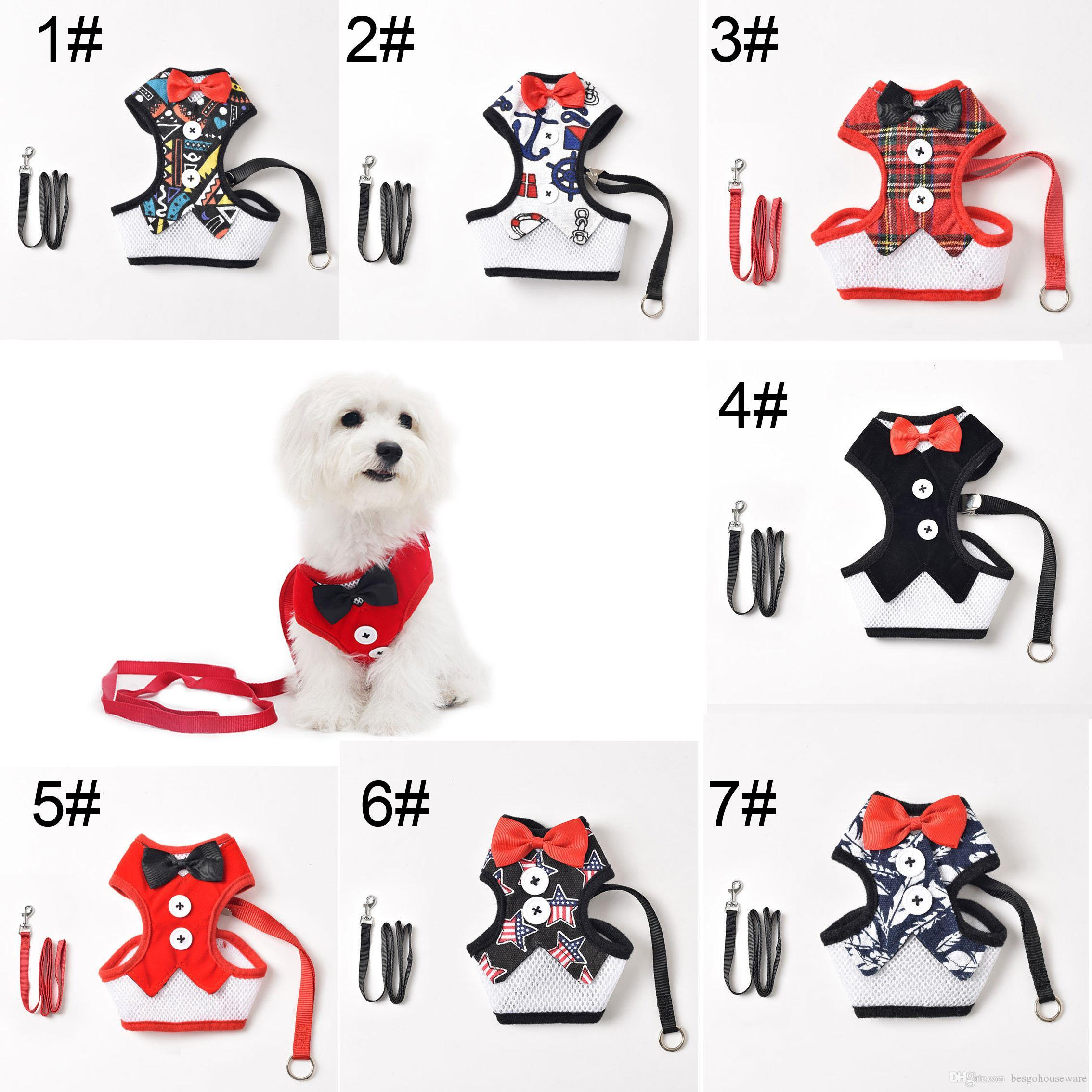 Сетка Ткань Собаки Pet Harness Lead Leash Puppy Pet Жилет Бантом Регулируемый Дышащий Pet Harnesses Собака Кошка Жилет с Поводком BH1544 TQQ