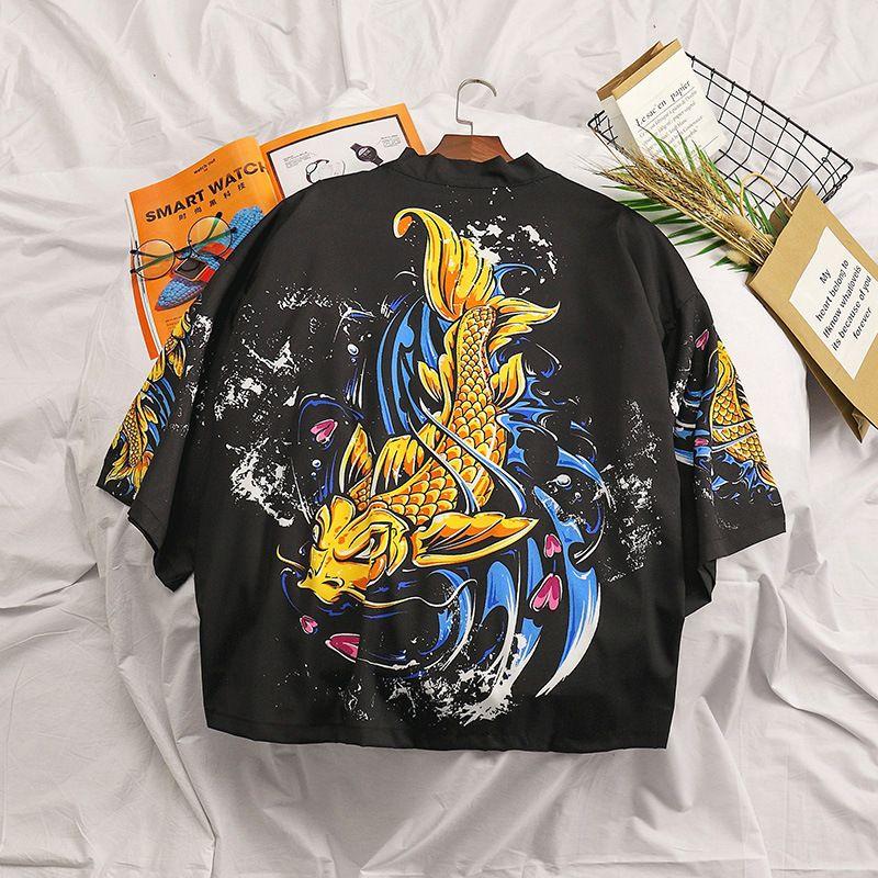 Лето в японском стиле мужская рубашка кимоно черный кардиган плюс размер Harajuku кимоно винтажная уличная одежда повседневная рубашка мужская мода DA077