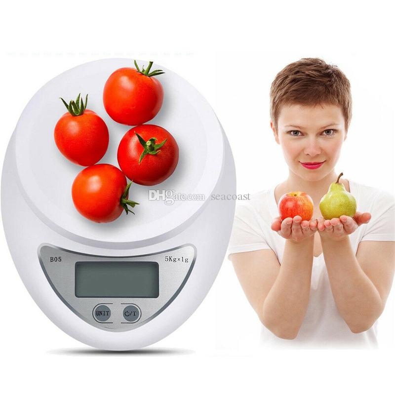 100pcs 5kg 1g B05 LED Digital Electronic Kitchen Scale Portable Postal Weight Scales Cooking Food Weighing Baking