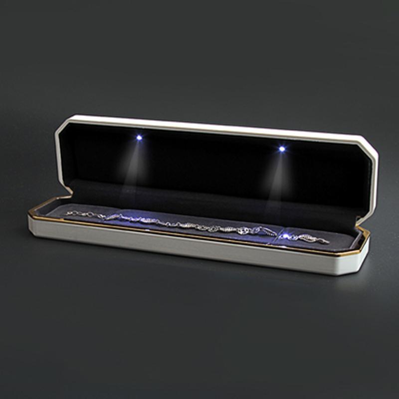 مجوهرات الصمام هدية حالة صندوق أنيق طويل مربع سوار مربع قلادة مع الصمام الخفيفة ليوم عرض مجوهرات الزفاف الخطبة الحب