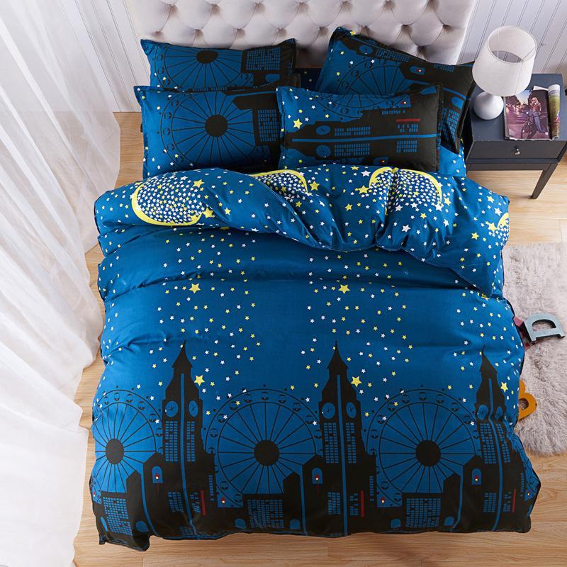 블루 스타 별이 빛나는 하늘 침구 세트 성인 어린이 침대 리넨 단일 전체 퀸 킹 사이즈 이불 이불 이불 커버 Bedlinen24