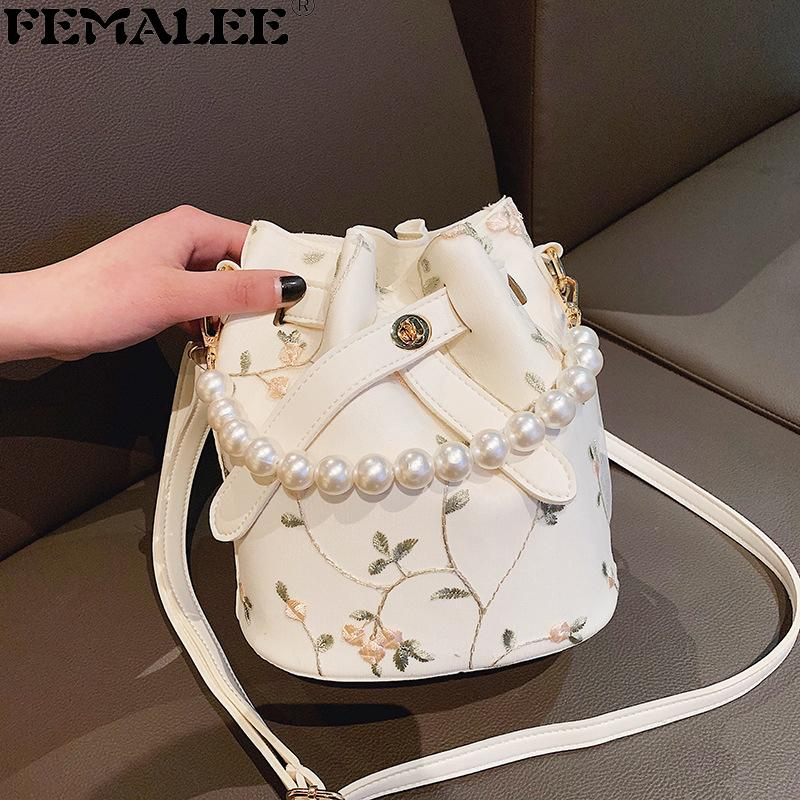 FEMALEE Bucket Lace Handbags Elegant Crossbody Pearl Handle Women Shoulder Bags Lady Flower 2019 Crossbody Bags
