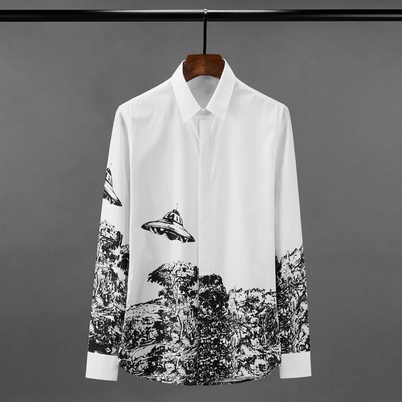 Vuelo de algodón para hombre Minglu camisas de lujo platillo Impreso de manga larga de vestir para hombre camisas tamaño 4XL Slim Fit hombre de partido