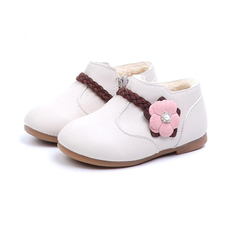 B19101 Toddler Little Girls Kids Flower Children Leather Martin Boots  Single Shoes For Gilrs School Cartoon Princess Ankle Boots Girls Size 3  Cowboy