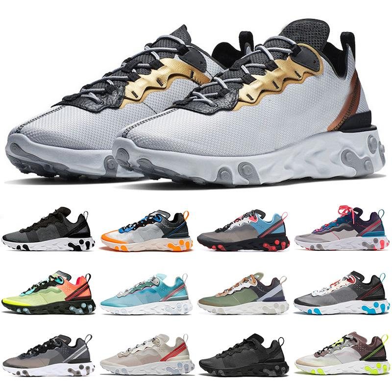 React Element 87 Undercover Running Shoes Light Bone Royal Tint Sail Blue Chill Solar Anthracite Black Designer Sports Sneakers mens shoe