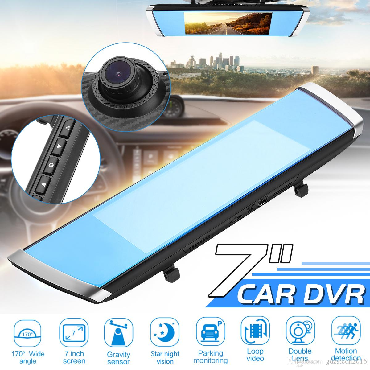 7 Inch Full HD 1080P 170 Degree Car DVR Camera Blue Rear View Mirror Video Recorder Dual Lens Registrator Dash Cam Detector
