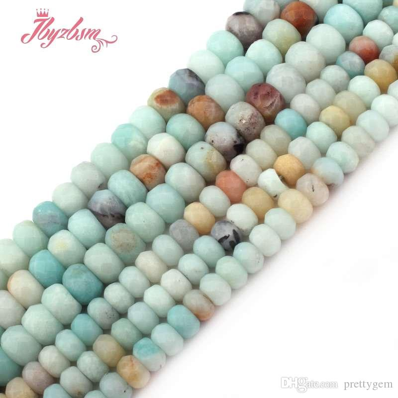 """3x6mm 4x8mm Faceted Mutil-Color Amazonite Stone Rondelle Heishi Spacer Bead for DIY Bracelet Jewelry Making 15""""Free Shipping"""