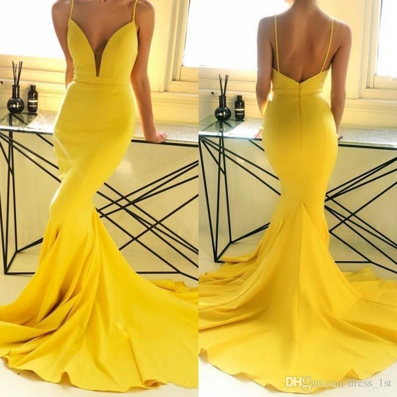 2019 Romantisches Gelb Abendkleid Mermaid Sexy Spaghetti-Träger Pluning mit V-Ausschnitt Gericht Zug vestidos de fiesta