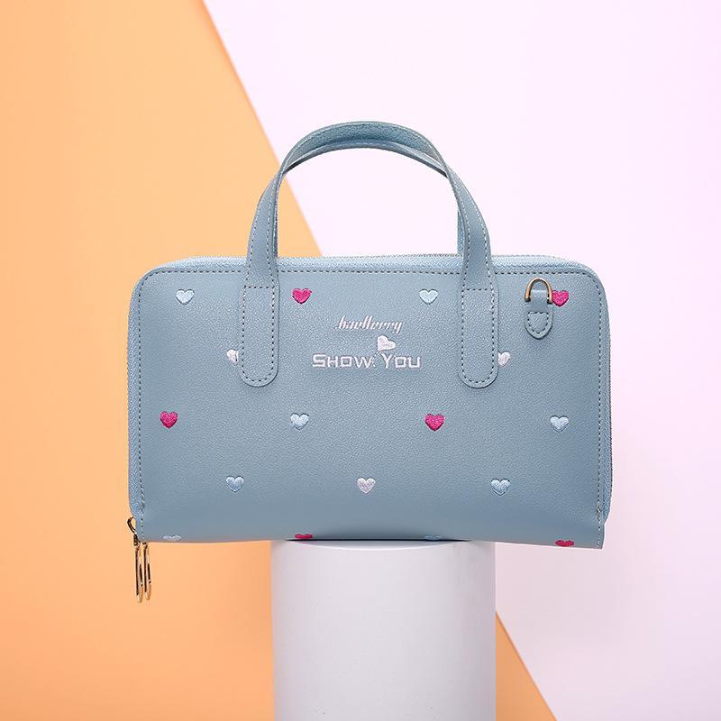 Nuevo bolso de las señoras bordado amor de Corea del bolso pequeño cuadrado salvaje pequeño mensajero portátil fresca